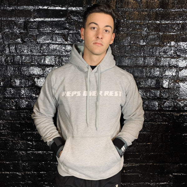 Solid Grey Lifting Sweatshirt - Reps Over Rest