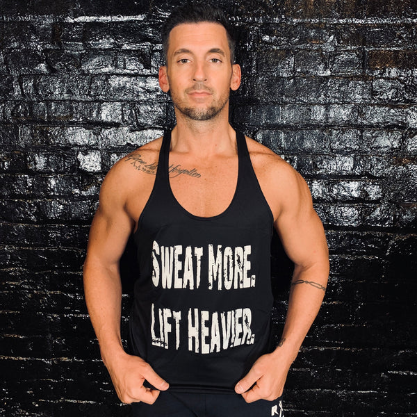 Sweat More Lift Heavier Mens Black Stringer - Reps Over Rest