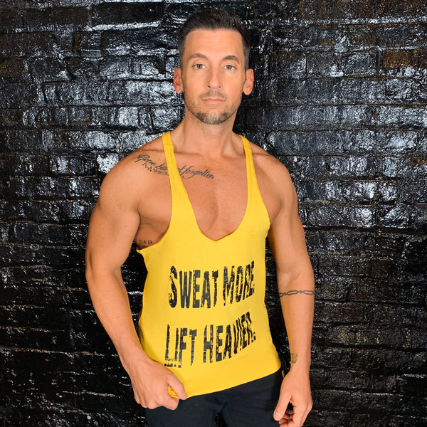 Sweat More Lift Heavier Mens Yellow Stringer - Reps Over Rest