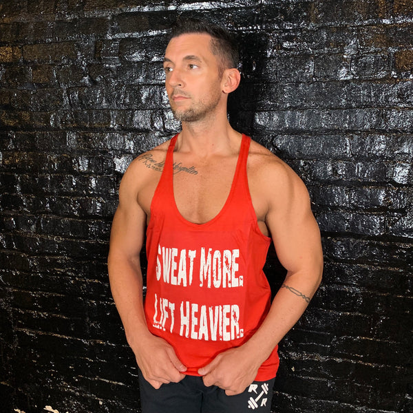 Sweat More Lift Heavier Mens Red Stringer