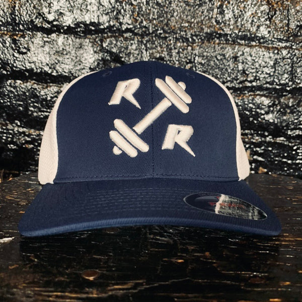 Navy Blue and White FlexFit Hat - Reps Over Rest