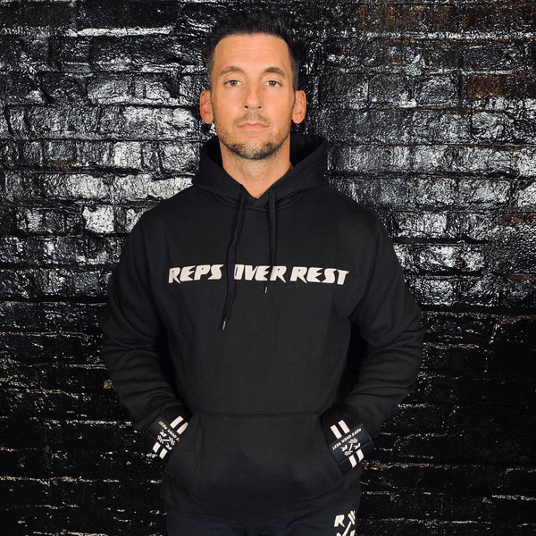 Solid Black Lifting Sweatshirt - Reps Over Rest