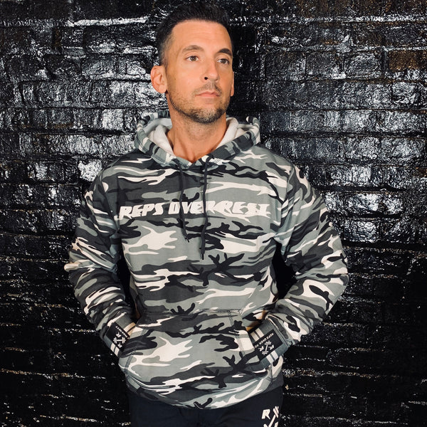 Grey Camo Lifting Sweatshirt - Reps Over Rest