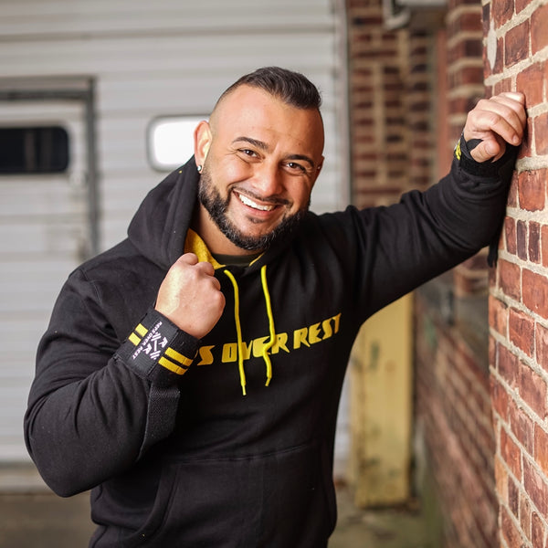 Black & Yellow Lifting Sweatshirt - Reps Over Rest