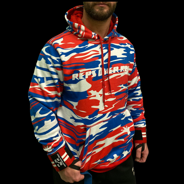 Red, White & Blue Camo Lifting Sweatshirt - Reps Over Rest