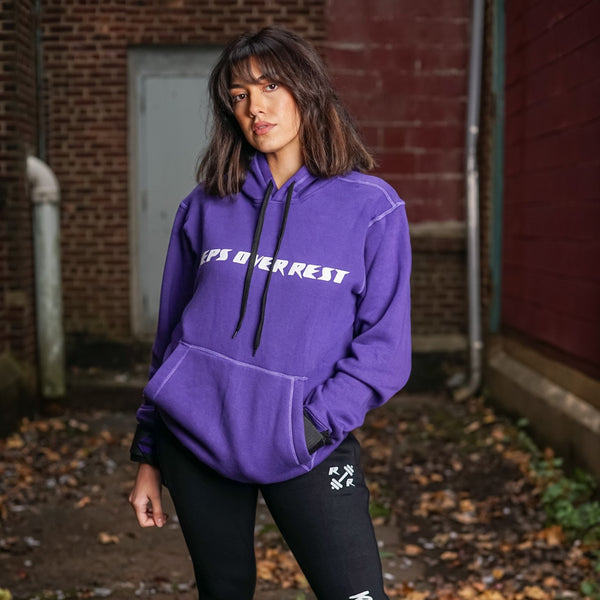 Purple & Black Lifting Sweatshirt - Reps Over Rest