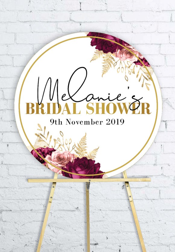 round-floral-burgundy-gold-bridal-shower-welcome-sign
