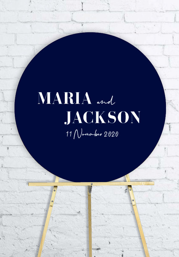 navy-round-wedding-welcome-sign