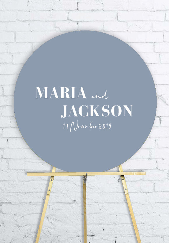 dusty-blue-round-wedding-welcome-sign