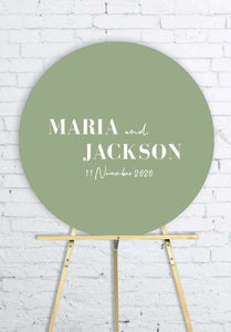 sage-blue-round-wedding-welcome-sign