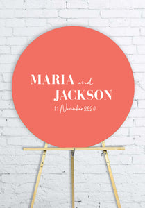 coral-round-wedding-welcome-sign