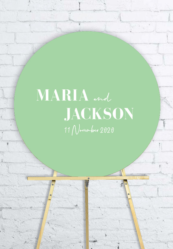 mint-round-wedding-welcome-sign