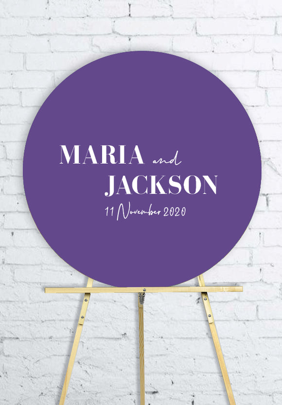 violet-round-wedding-welcome-sign