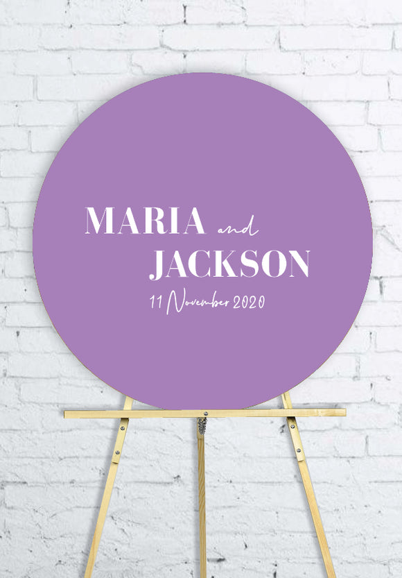 lavender-round-wedding-welcome-sign