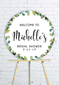 round-eucalyptus-bridal-shower-welcome-sign