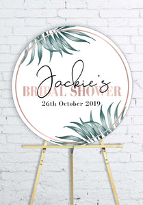 round-rose-gold-palms-bridal-shower-welcome-sign