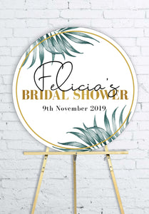 round-gold-palms-bridal-shower-welcome-sign