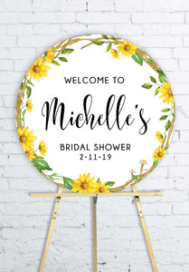 round-sunflower-bridal-shower-welcome-sign