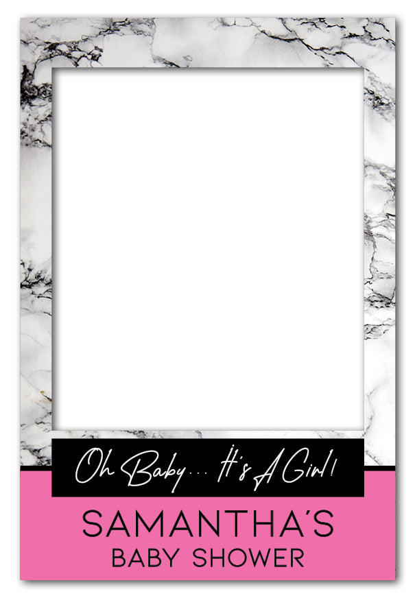 Pink Marble Girl Baby Shower Photo Booth Frame Prop 60 X 90 Cm