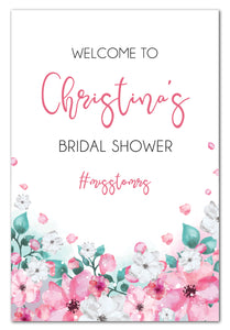 pink-watercolour-flowers-bridal-shower-welcome-sign