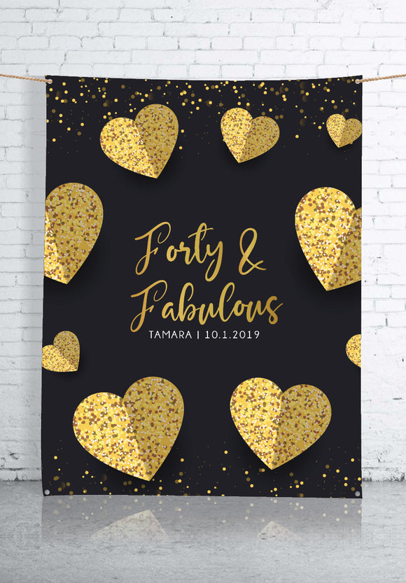 Forty & Fabulous Backdrop Banner (1.5 x 2m)