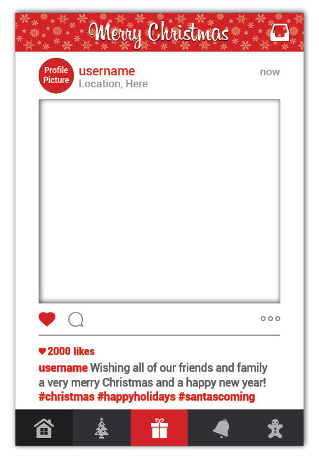 The Christmas Instagram Frame Prop - Large (80 x 110 cm)