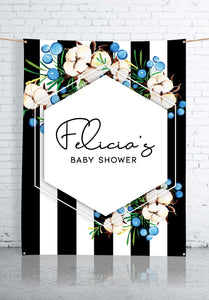 blue-flowers-and-stripes-baby-shower-backdrop