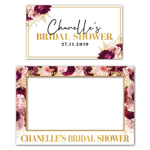 burgundy-gold-floral-bridal-shower-photo-booth-frame-and-welcome-sign