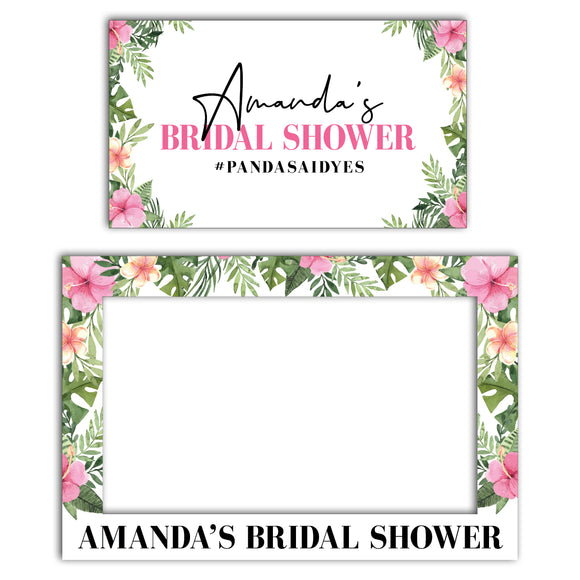 pink-tropical-bridal-shower-photo-booth-frame-and-welcome-sign