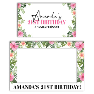 pink-tropical-birthday-photo-booth-frame-and-welcome-sign