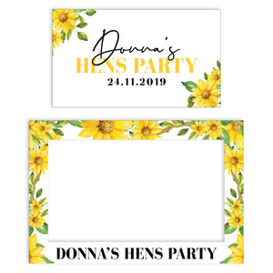 sunflower-bridal-shower-photo-booth-frame-and-welcome-sign