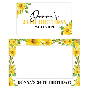 sunflower-birthday-photo-booth-frame-and-welcome-sign