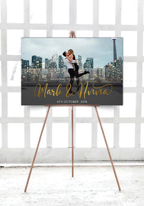 white-and-gold-photo-wedding-welcome-sign-landscape