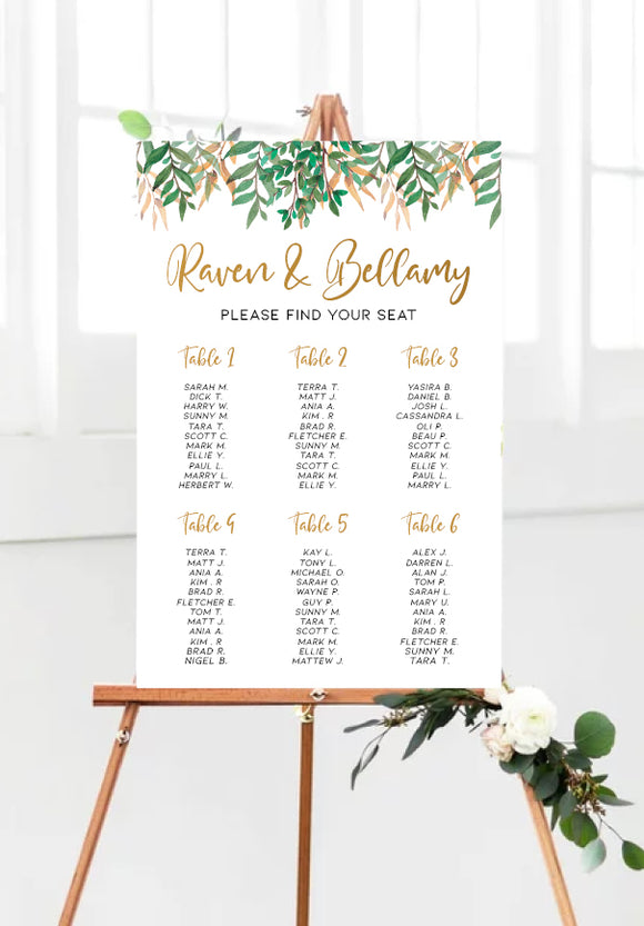rustic-wild-leaves-wedding-seating-chart-portrait