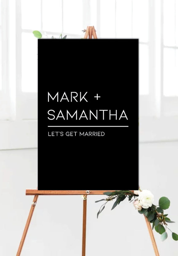 black-modern-wedding-welcome-sign-portrait
