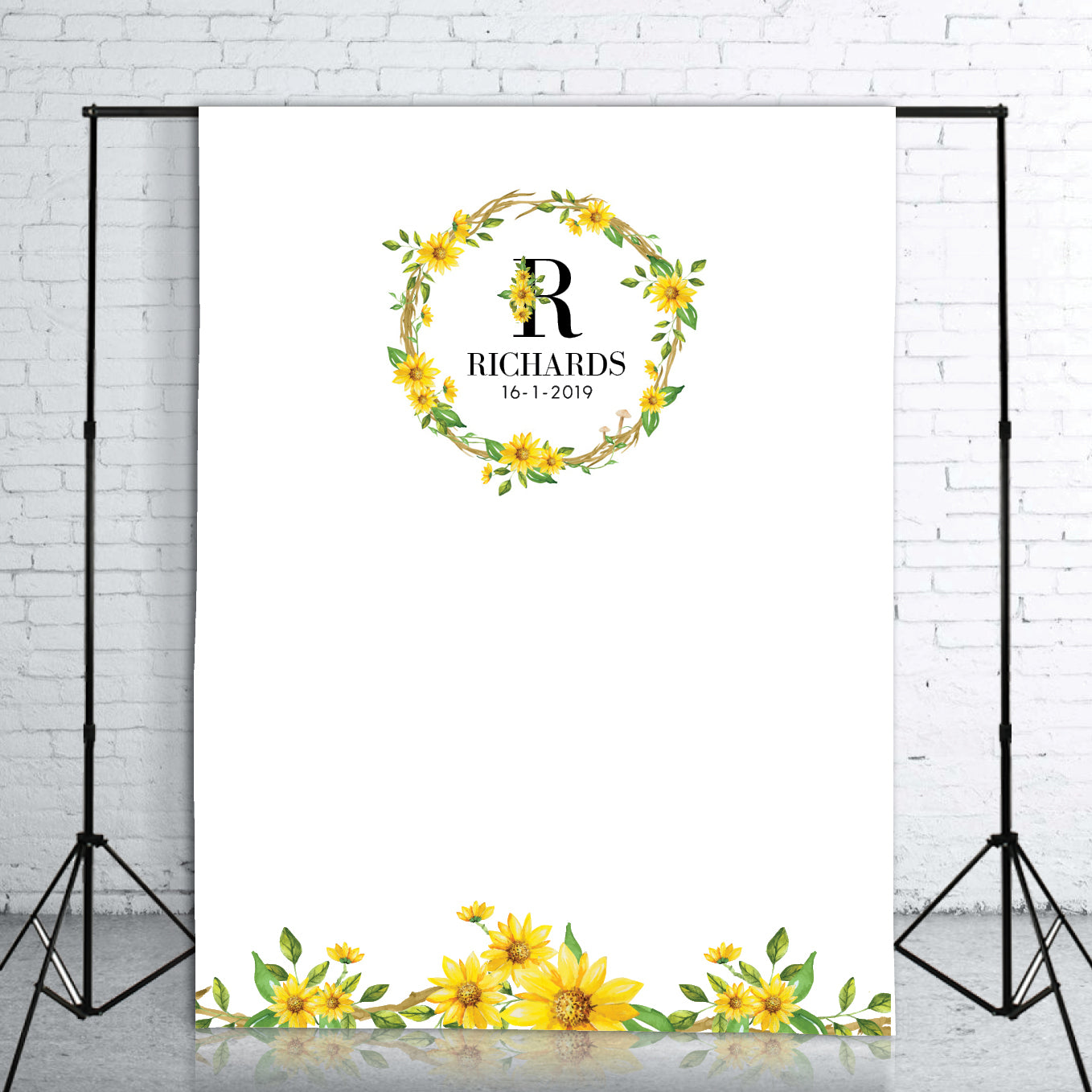 Sunflower Wreath Monogram Wedding Backdrop 1 5 X 2m Framesta