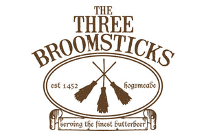 The Three Broomsticks Sign (60 x 90 cm) Harry Potter Party Theme
