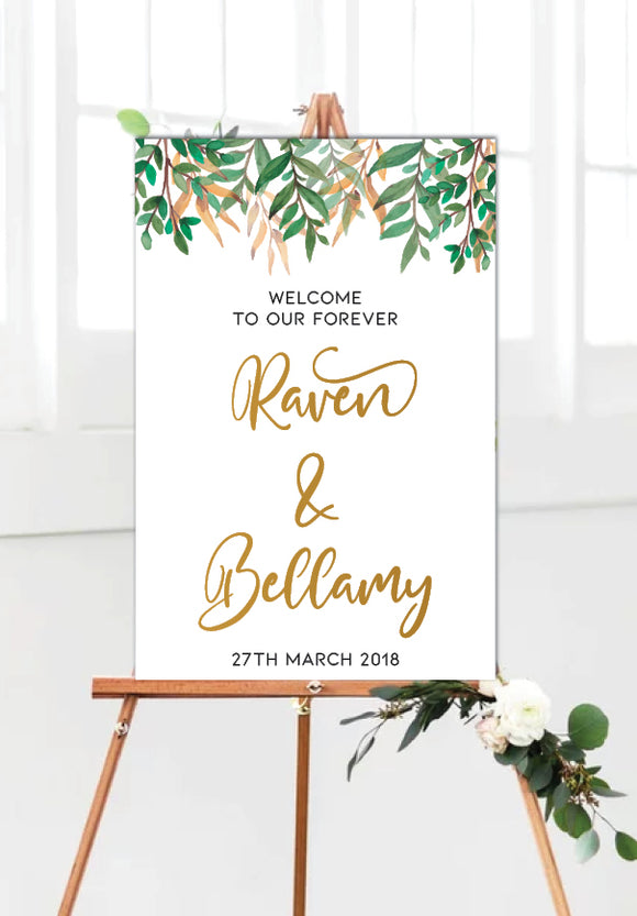 rustic-wild-leaves-wedding-welcome-sign-portrait