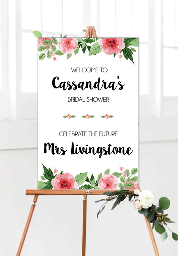 pink_flowers_bridal_shower_welcome_sign_portrait