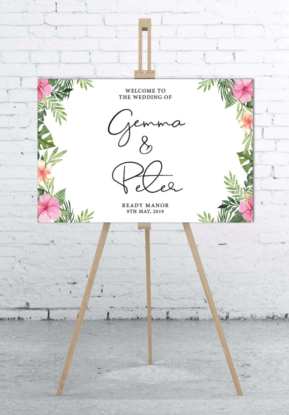 pink-and-tropical-wedding-welcome-sign-landscape