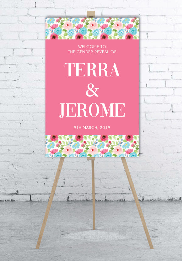 pink-and-blue-flowers-gender-reveal-welcome-sign