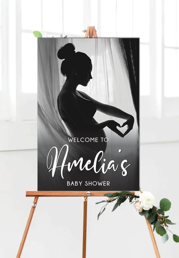 black-white-baby-shower-photo-welcome-sign