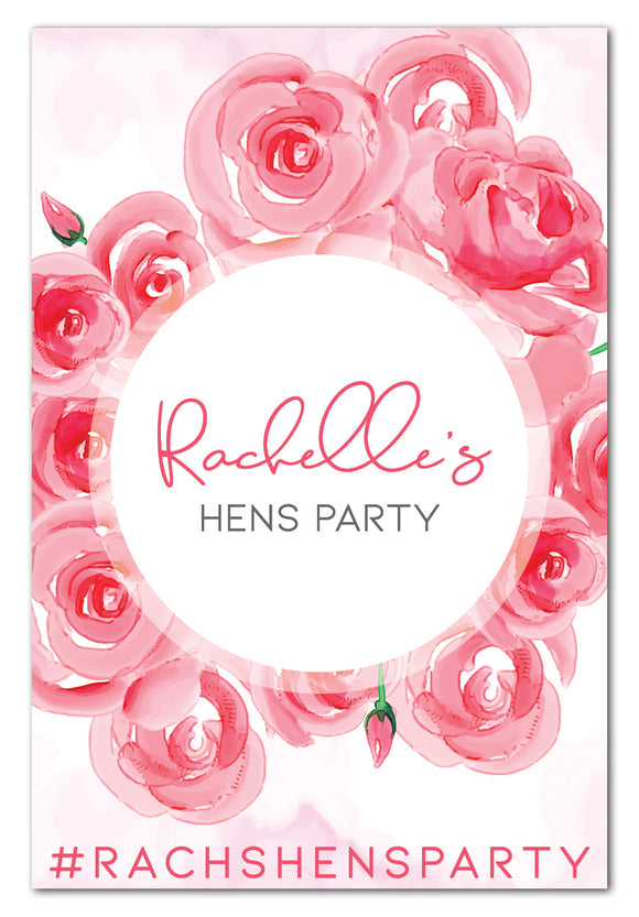 Watercolour Roses Hens Party Welcome Sign (80 x 110 cm)