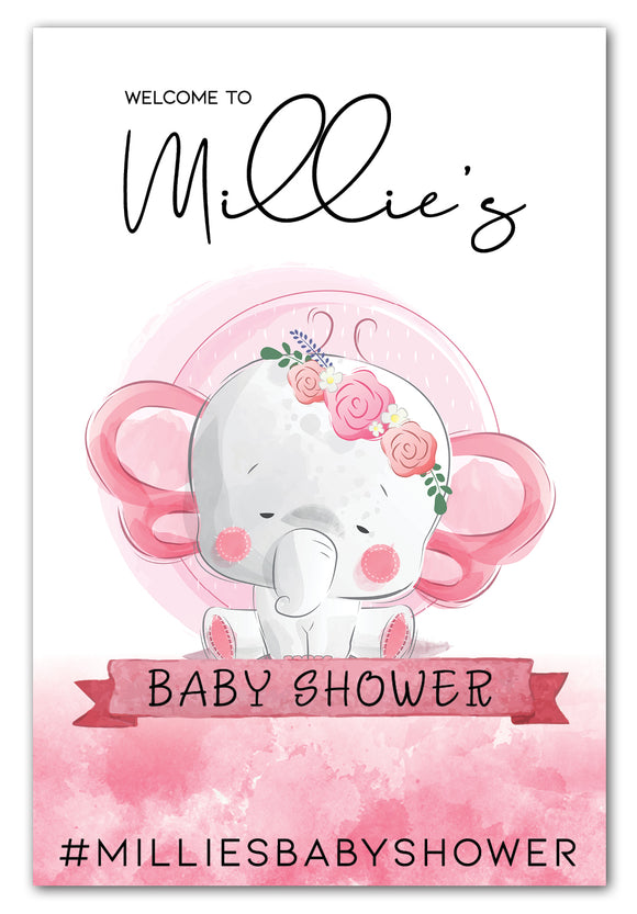 girl-elephant-baby-shower-welcome-sign