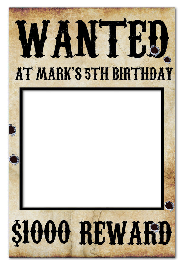 Wanted Poster Cowboy Party Photo Booth Frame (60 x 90 cm) Western ...