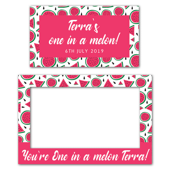 pink-one-in-a-melon-photo-booth-frame-and-welcome-sign-decorations