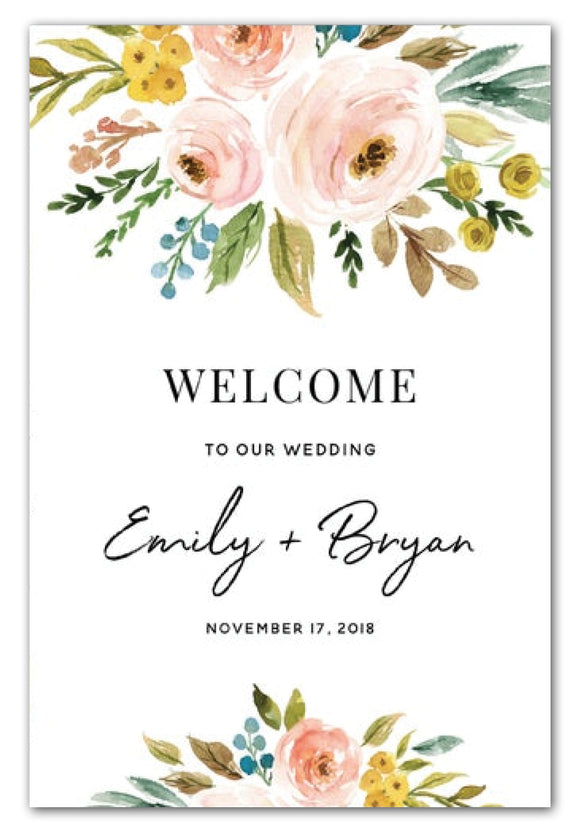 Boho Floral Wedding Welcome Sign (60 x 90 cm)