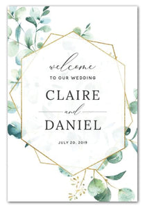 gold-geometric-and-greenery-wedding-welcome-sign
