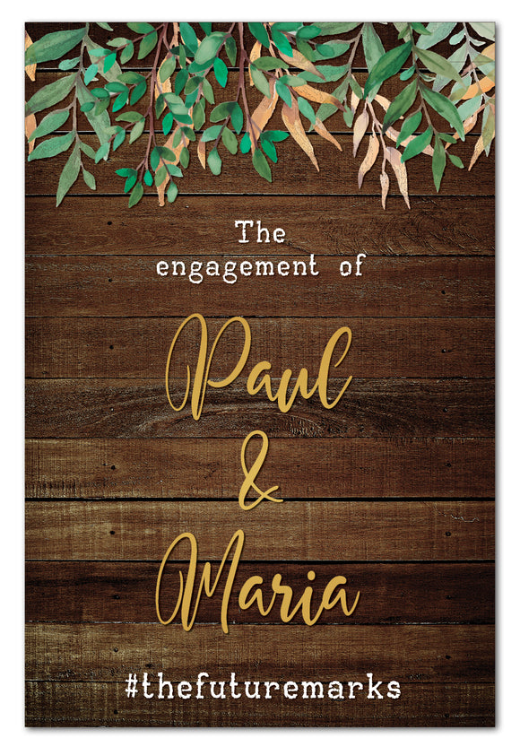 rustic-leaves-and-dark-wood-welcome-sign-engagement