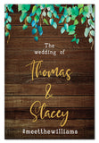 wild-leaves-and-dark-wood-rustic-wedding-welcome-sign